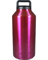 PACIFICA Large double Wall Stainless Steel Wide Mouth Vacuum Insulated Bottle/Growler with Carry Handle Lid, 64 oz, Pink