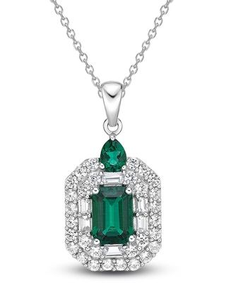 Jared The Galleria Of Jewelry Lab-Created Emerald & Lab-Created White Sapphire Necklace Sterling Silver