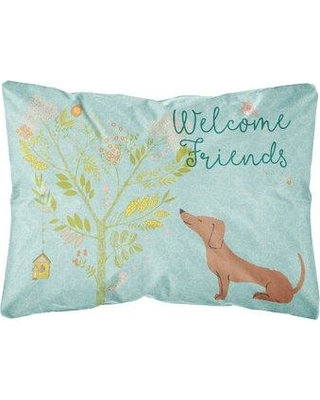 Winston Porter Kirkland Welcome Friends Dachshund Indoor/Outdoor Throw Pillow BF148340 Color: Brown