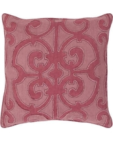 "Darby Home Co Damascus 100% Linen Throw Pillow Cover DRBC7017 Size: 18"" H x 18"" W x 0.25"" D, Color: Pink"