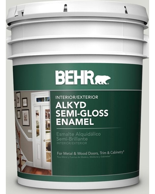 BEHR 5 gal. #BWC-29 Silver Feather Urethane Alkyd Semi-Gloss Enamel Interior/Exterior Paint
