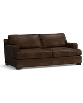 Townsend Square Arm Leather Loveseat, Polyester Wrapped Cushions, Leather Vintage Cocoa