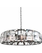 "Giada 30""W Dark Bronze Round Bubble Crystal Pendant Light"