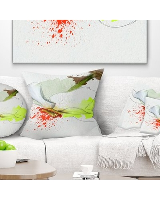 """Floral Narcissus Flower Sketch Watercolor Pillow East Urban Home Size: 18"""" x 18"""", Product Type: Throw Pillow"""