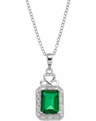 """""""RADIANT GEM Sterling Silver Simulated Emerald Halo Pendant Necklace, Women's, Size: 18"""", Green"""""""