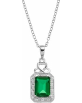 """Radiant GEM Sterling Silver Simulated Emerald Halo Pendant Necklace, Women's, Size: 18"""", Green"""