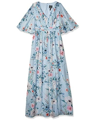 Adrianna Papell Women's Plus Size Printed Floral Chiffon Gown, Glacier Multi, 14