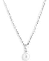 Women's Mikimoto 'Morning Dew' Akoya Cultured Pearl & Diamond Pendant Necklace