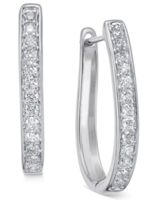 Diamond Oval Hoop Earrings (3/8 ct. t.w.) in 14k White or Yellow Gold