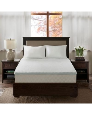 """Flexapedic by Sleep Philosophy 3"" Gel Memory Foam King Mattress Topper w/ Cooling Cover in White - Olliix BASI16-0479"""