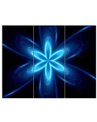 Design Art 'Blue Glowing Space Fractal Flower' 3 Piece Graphic Art on Wrapped Canvas Set PT13873-3P