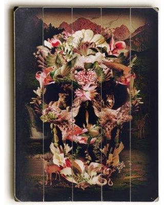 """East Urban Home 'Jungle Skull' Graphic Art Print on Wood URBR7284 Size: 34"""" H x 25"""" W Format: Planked Wood"""