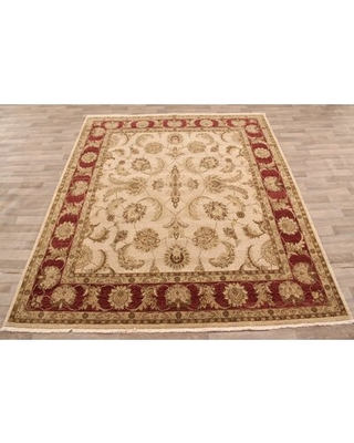 """One-of-a-Kind Abrego Hand-Knotted Beige/Red 8'4"""" x 9'11"""" Wool Area Rug"""