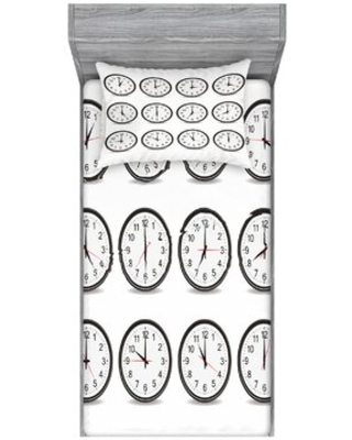 Clocks with Numbers that Show Every Hour Illustration Hour and Minute Sheet Set East Urban Home