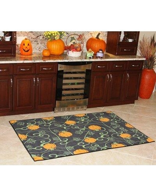 The Holiday Aisle Chastain Pumpkin Halloween Decoration Green/Orange Area Rug W000764170
