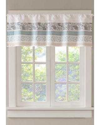 Madison Park Blue Dawn Printed and Pieced Rod Pocket Valance
