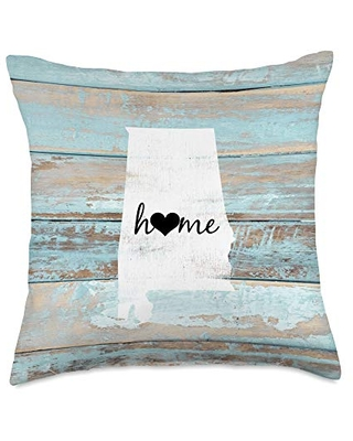 Alabama Rustic Home Pride US State Distressed Loo Alabama Barn Board Shiplap Home Heart Gift Throw Pillow, 18x18, Multicolor