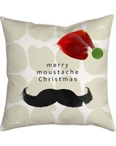 "SafiyaJamila Holiday Treasures Throw Pillow MustacheClaus_ Size: 18"" H x 18"" W"