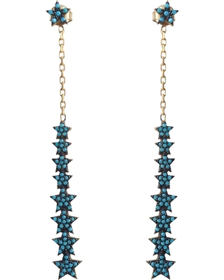 Wild Hearts - Turquoise Multi Drop Star Earrings Gold