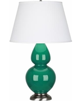 Robert Abbey Emerald Ceramic and Silver Table Lamp