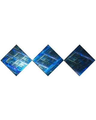 'Glowing Blue Fractal Grill' Graphic Art Print Multi-Piece Image on Canvas