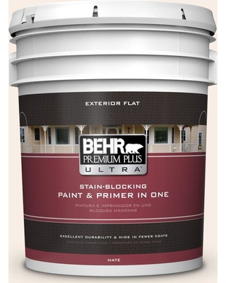 BEHR Premium Plus Ultra 5 gal. #M210-1 Seed Pearl Flat Exterior Paint and Primer in One
