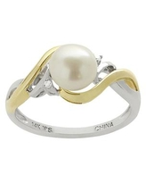 PearLustre by Imperial Freshwater Cultured Pearl and Diamond Accent 14k Gold Two Tone Ring, Women's, Size: 8, White