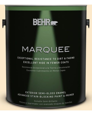 BEHR MARQUEE 1 gal. #YL-W2 Spanish Lace Semi-Gloss Enamel Exterior Paint and Primer in One