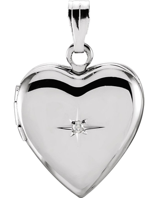 Curata 925 Sterling Silver 22.25x14.25mm Polished Love Heart Shaped Photo Locket Pendant Necklace With Diamond Jewelry Gifts for