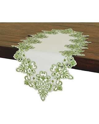 "Xia Home Fashions Victorian Lace Embroidered Cutwork Table Runner, 16 by 34"", Green"