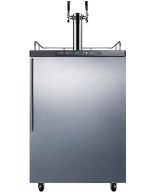 """Summit 24"""" 5.6 Cu. Ft. Outdoor Rated Double Tap Beer Dispenser / Kegerator - Stainless Steel"""
