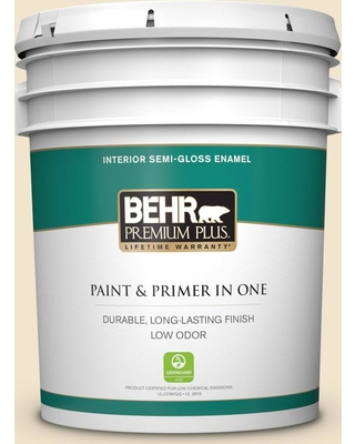 BEHR Premium Plus 5 gal. Home Decorators Collection #HDC-NT-11A Warm Marshmallow Semi-Gloss Enamel Low Odor Interior Paint & Primer in One