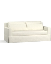 "York Square Arm Slipcovered Deep Seat Sofa 79"" with Bench Cushion, Down Blend Wrapped Cushions, Performance Slub Cotton Ivory"