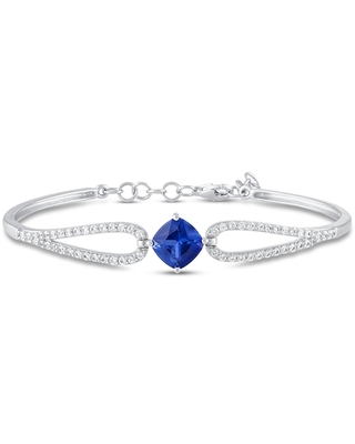Blue/White Lab-Created Sapphire Bangle Bracelet Cushion/Round-cut Sterling Silver