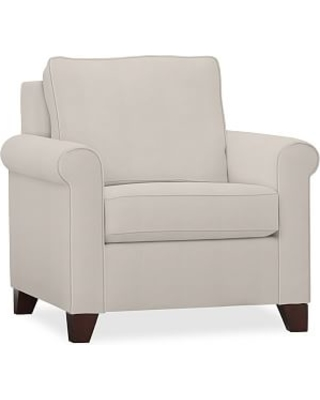 Cameron Upholstered Roll Armchair, Polyester Wrapped Cushions, Twill Cream