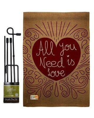 Breeze Decor All You Need Is Love Burlap Spring Valentines Impressions 2-Sided Polyester 18.5 x 13 in. Garden Flag Set BD-VA-GS-101052-IP-DB-D-US16-BD