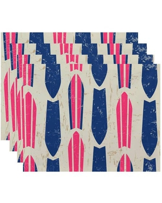 """Simply Daisy 18"""" x 14"""" Dean Geometric Print Placemats, Set of 4"""