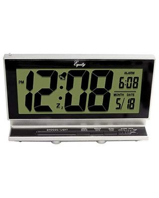 """Equity by La Crosse Equity's 2"""" Digital LCD Alarm Clock with Night Vision Model# 30041, Silver"""