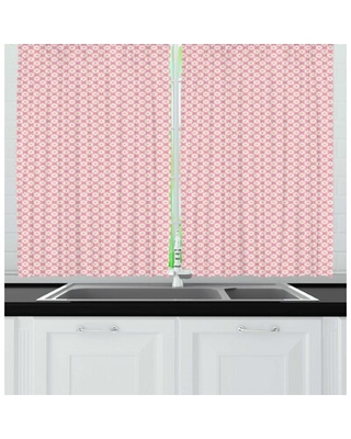 Floral Delicate Summer Petals Garden Art Bloom Repetitive Pattern Kitchen Curtain East Urban Home