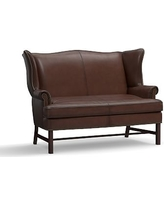 Thatcher Leather Settee, Polyester Wrapped Cushions, Burnished Walnut