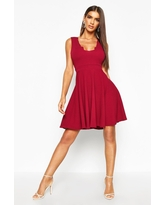 Womens Scallop Plunge Skater Dress - Pink - 2