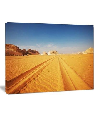 """Design Art Road in White Desert Egypt Modern Landscape Photographic Print on Wrapped Canvas PT10492- Size: 30"""" H x 40"""" W x 1"""" D"""