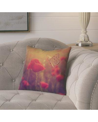 "Ebern Designs Fryer Country Butterfly and Rose Throw Pillow W000030919 Size: 18"" H x 18"" W Color: Red"