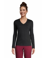 Women's Relaxed Supima Cotton Long Sleeve V-Neck T-Shirt - Lands' End - Black - S