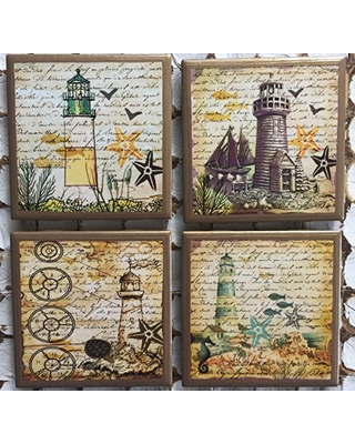 Lighthouse coasters with gold trim