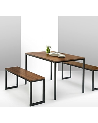zinus modern studio collection soho dining table with two benches 3 piece set