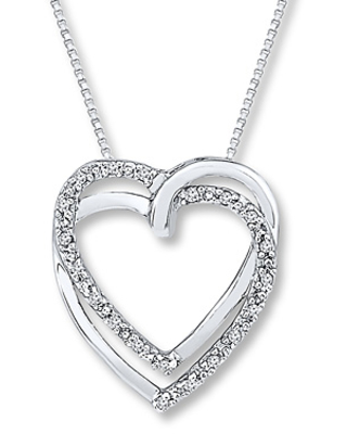 Heart Necklace 1/15 ct tw Diamonds Sterling Silver