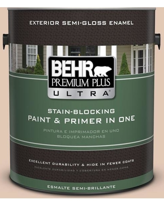 BEHR Premium Plus Ultra 1 gal. #290E-2 Oat Cake Semi-Gloss Enamel Exterior Paint and Primer in One