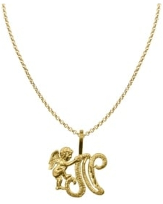 14k Yellow Gold Cherub Cursive Initial Letter Pendant and 1.2mm Rolo Chain (20 Inch - N)