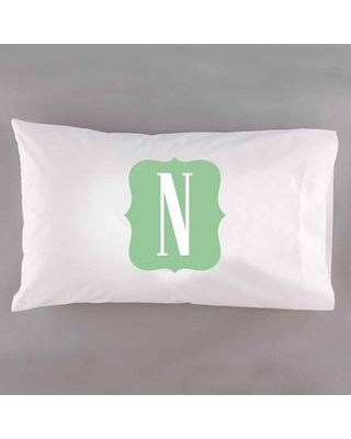 Personalized Framed Initial Pillowcase, Mint
